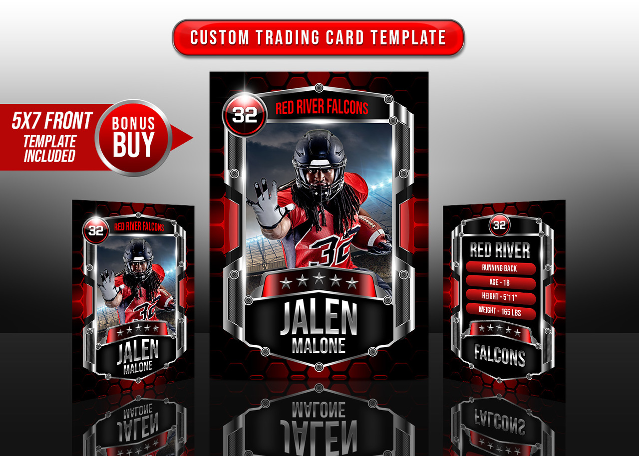SPORTS TRADING CARDS AND 5X7 TEMPLATE - HEXAGON III