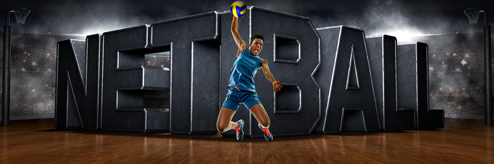 PANORAMIC SPORTS BANNER TEMPLATE - SURREAL NETBALL - LAYERED PHOTOSHOP SPORTS TEMPLATE
