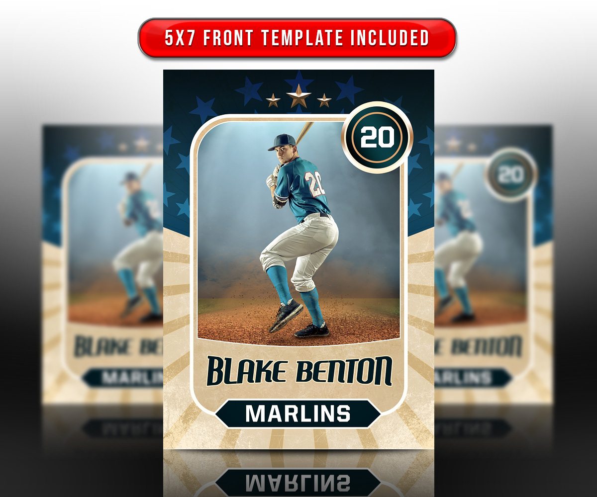 SPORTS TRADING CARDS AND 5X7 TEMPLATE - RETRO
