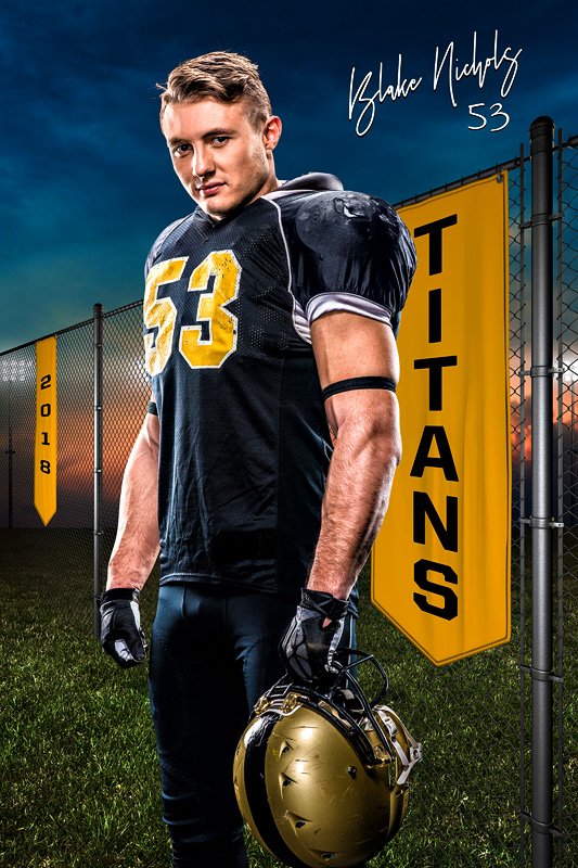 PLAYER BANNER PHOTO TEMPLATE - FIELD BANNERS II - CUSTOM PHOTOSHOP LAYERED SPORTS TEMPLATE