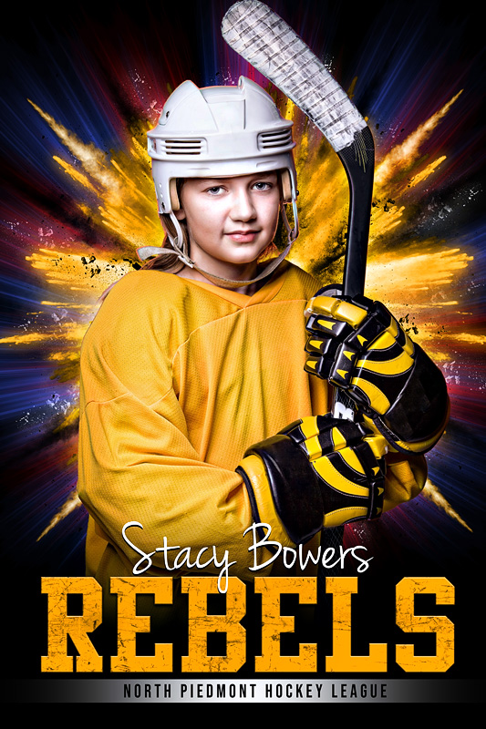 PLAYER BANNER PHOTO TEMPLATE - EXPLODE - CUSTOM PHOTOSHOP LAYERED SPORTS TEMPLATE