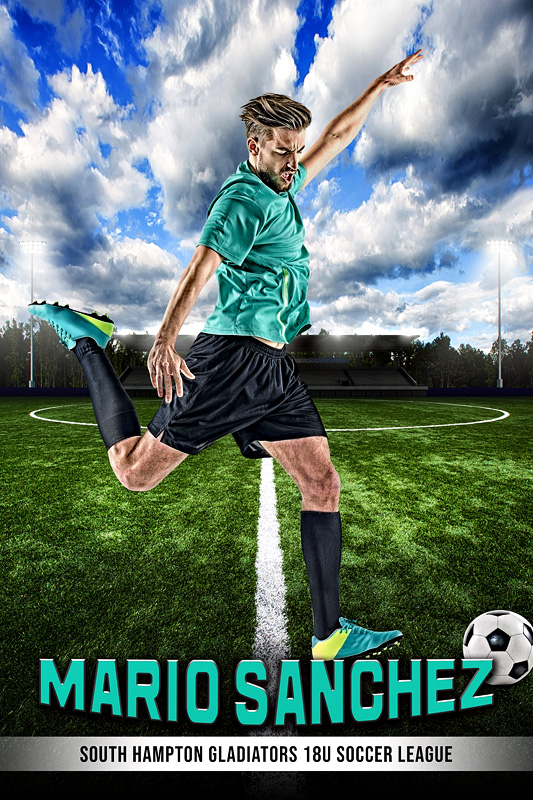 PLAYER BANNER PHOTO TEMPLATE - CENTER CIRCLE - PHOTOSHOP LAYERED SPORTS TEMPLATE