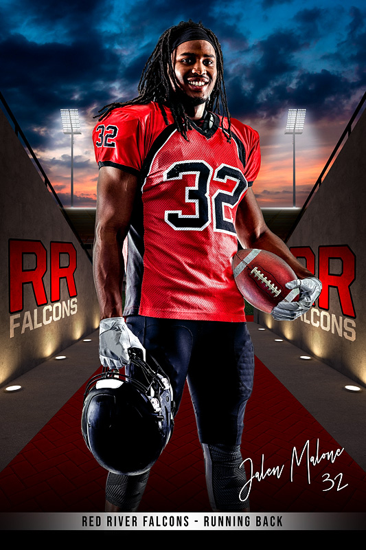 PLAYER BANNER PHOTO TEMPLATE - FIELD TUNNEL - CUSTOM PHOTOSHOP LAYERED SPORTS TEMPLATE