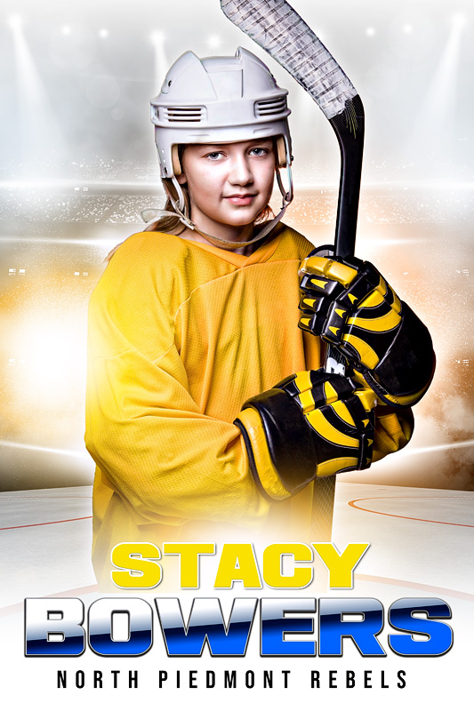 PLAYER BANNER PHOTO TEMPLATE - HI KEY HOCKEY - CUSTOM PHOTOSHOP LAYERED SPORTS TEMPLATE