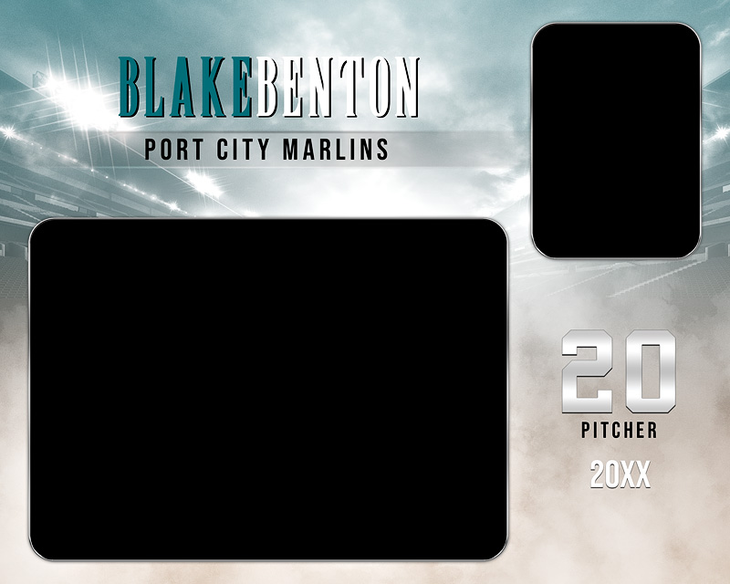 MEMORY MATE - HORIZONTAL - FADE OUT - CUSTOM PHOTOSHOP LAYERED MEMORY MATE TEMPLATE FOR MANY SPORTS