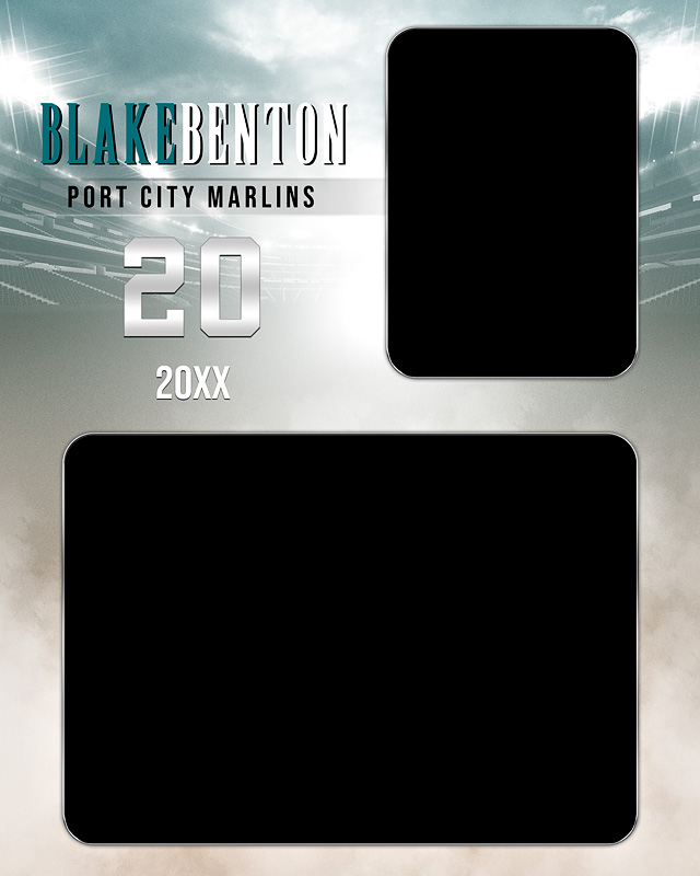 MEMORY MATE - VERTICAL - FADE OUT - CUSTOM PHOTOSHOP LAYERED MEMORY MATE TEMPLATE FOR MANY SPORTS