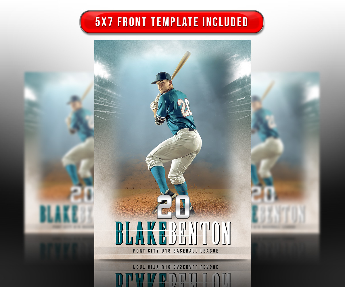SPORTS TRADING CARDS AND 5X7 TEMPLATE - FADE OUT