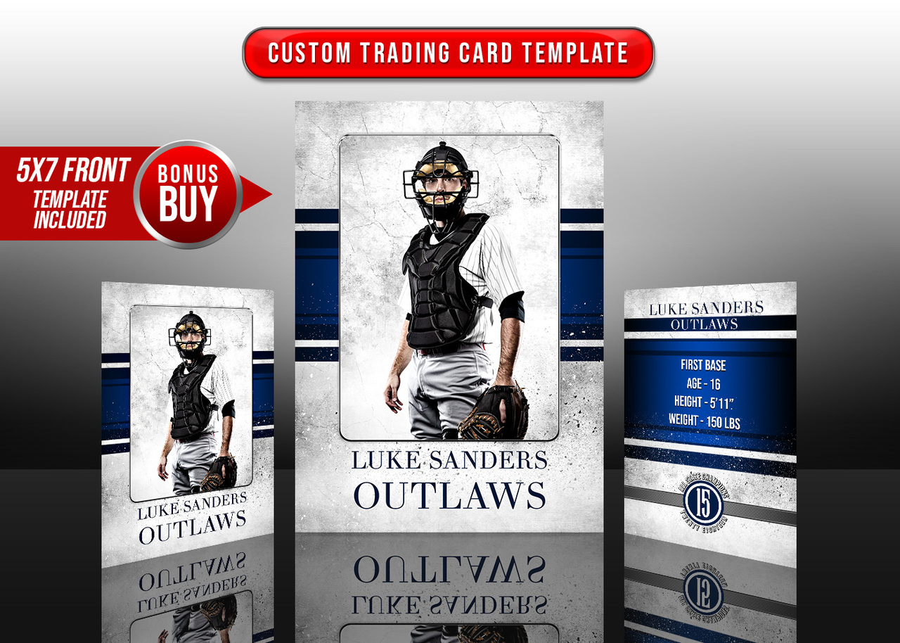 SPORTS TRADING CARDS AND 5X7 TEMPLATE - GRUNGE SPORT