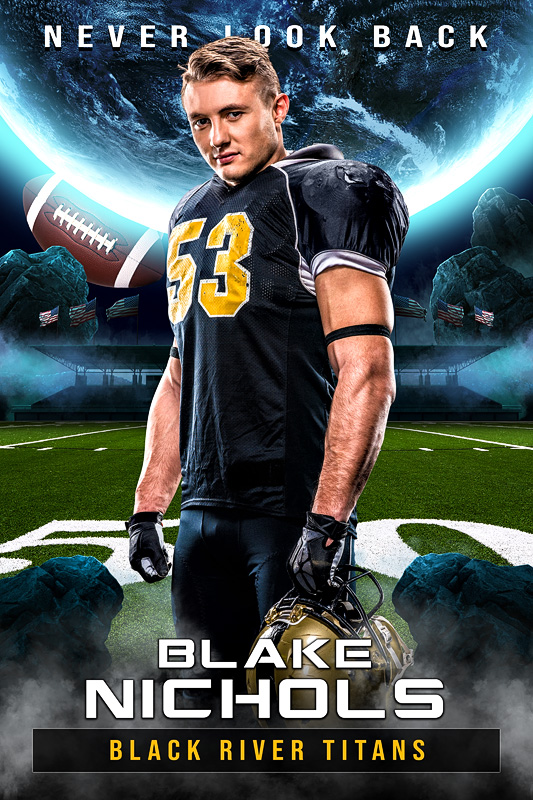 PLAYER BANNER PHOTO TEMPLATE - SPACE FOOTBALL - PHOTOSHOP LAYERED SPORTS TEMPLATE