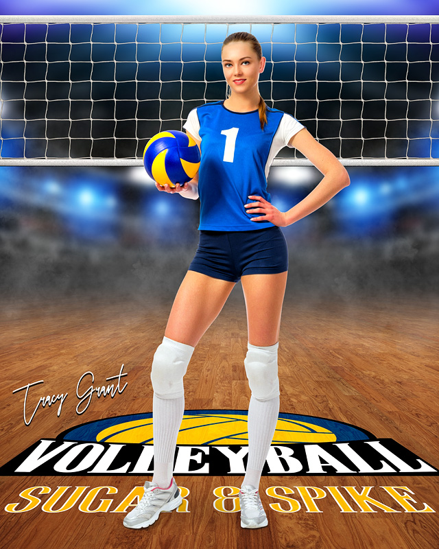 SPORTS POSTER PHOTO TEMPLATE - VOLLEYBALL COURT LOGO - CUSTOM PHOTOSHOP LAYERED SPORTS TEMPLATE