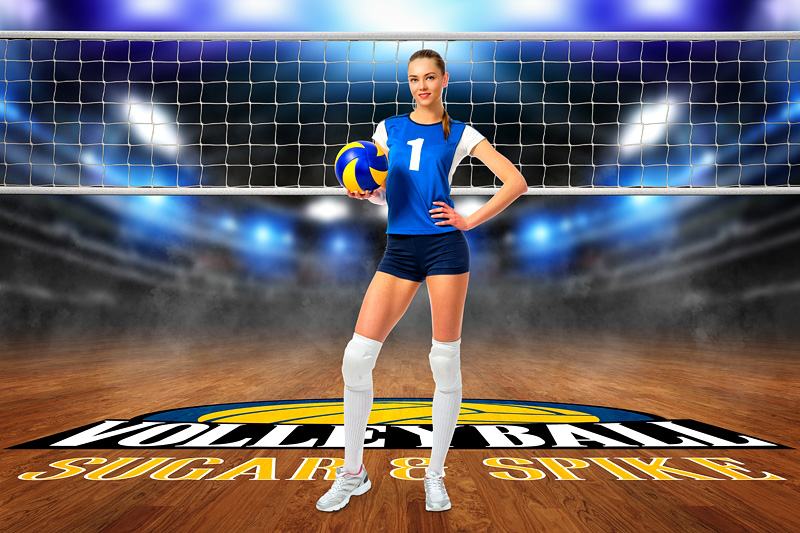 PLAYER BANNER PHOTO TEMPLATE - VOLLEYBALL COURT LOGO - CUSTOM PHOTOSHOP LAYERED SPORTS TEMPLATE