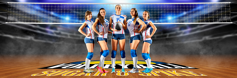 PANORAMIC SPORTS BANNER TEMPLATE - VOLLEYBALL COURT LOGO - CUSTOM LAYERED PHOTOSHOP SPORTS TEMPLATE