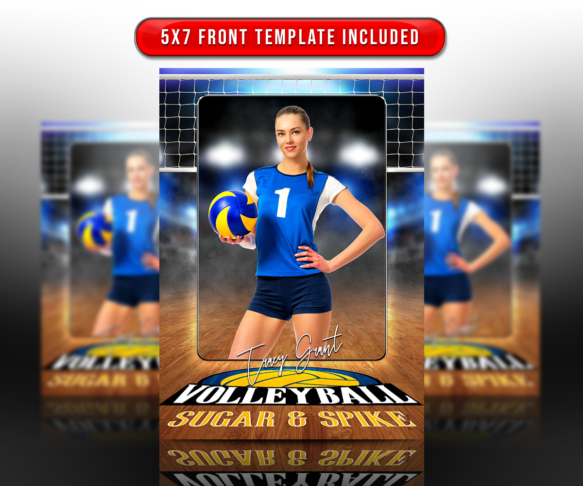 SPORTS TRADING CARDS AND 5X7 TEMPLATE - VOLLEYBALL COURT LOGO