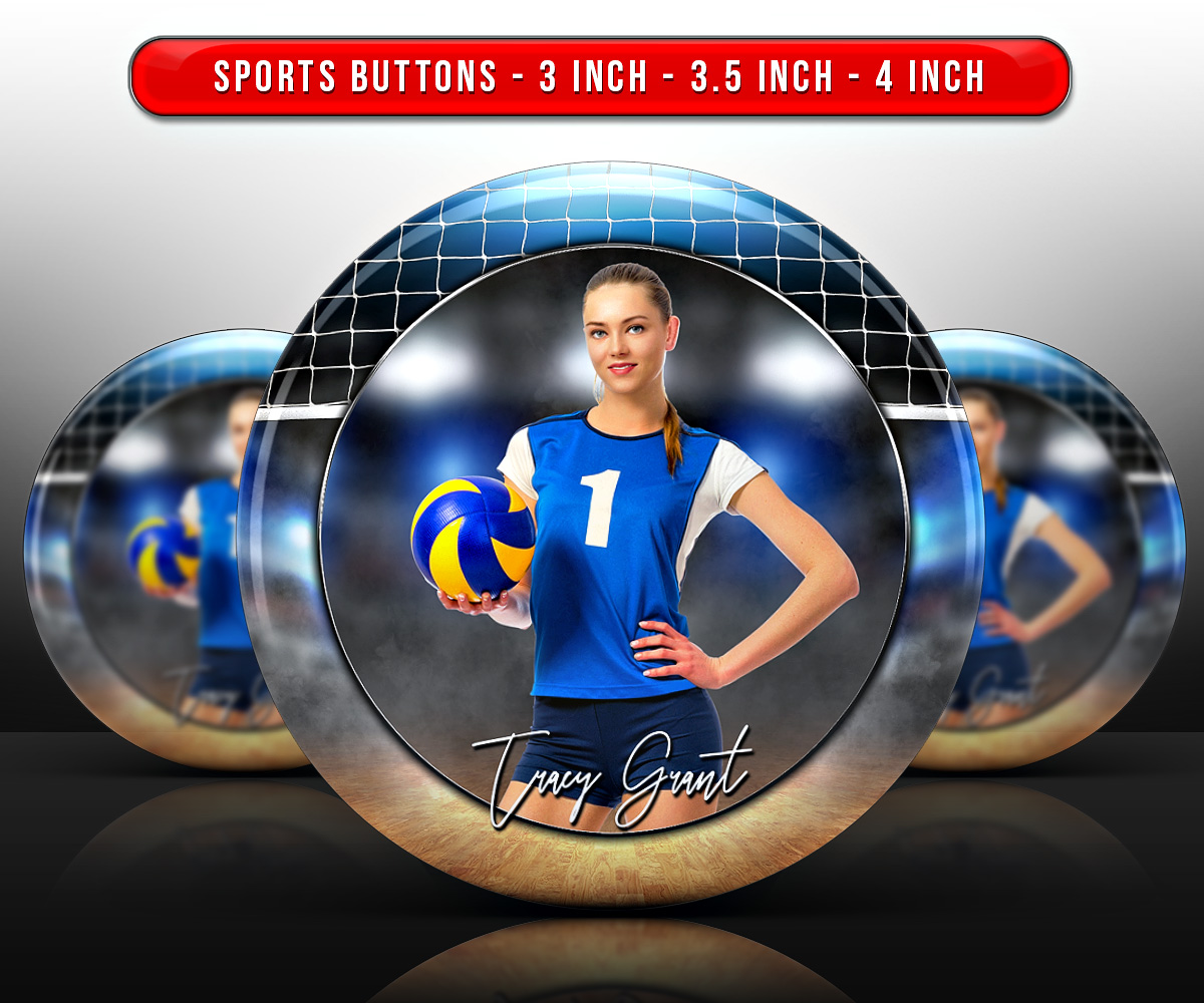 SPORTS PHOTO BUTTON TEMPLATES - VOLLEYBALL COURT