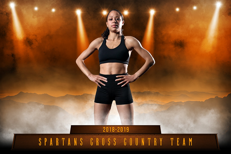 CROSS COUNTRY PLAYER & TEAM BANNER PHOTO TEMPLATE - SPARTANS - CUSTOM PHOTOSHOP LAYERED SPORTS TEMPLATE
