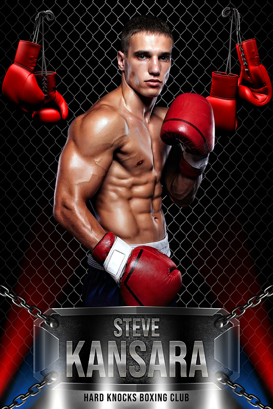 PLAYER BANNER PHOTO TEMPLATE - BOXING - CUSTOM PHOTOSHOP LAYERED SPORTS TEMPLATE