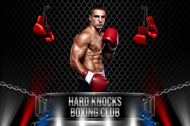 PLAYER & TEAM BANNER PHOTO TEMPLATE - BOXING - CUSTOM PHOTOSHOP LAYERED SPORTS TEMPLATE