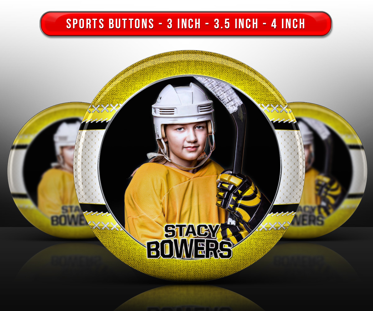 SPORTS PHOTO BUTTON TEMPLATES - STITCHED