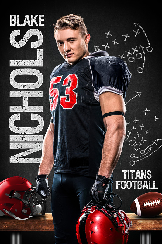 FOOTBALL PLAYER BANNER PHOTO TEMPLATE - FOOTBALL CHALK - CUSTOM PHOTOSHOP LAYERED SPORTS TEMPLATE