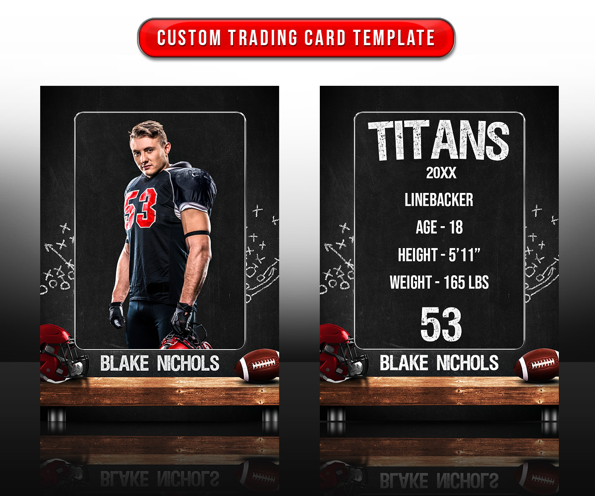 SPORTS TRADING CARDS AND 5X7 TEMPLATE - FOOTBALL CHALK