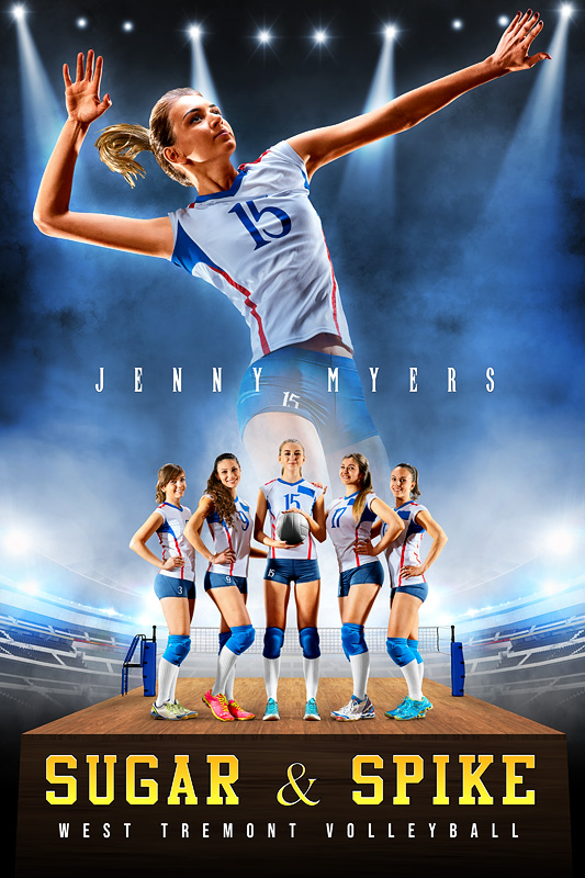 PLAYER BANNER PHOTO TEMPLATE - VOLLEYBALL UPRISE - CUSTOM PHOTOSHOP LAYERED SPORTS TEMPLATE