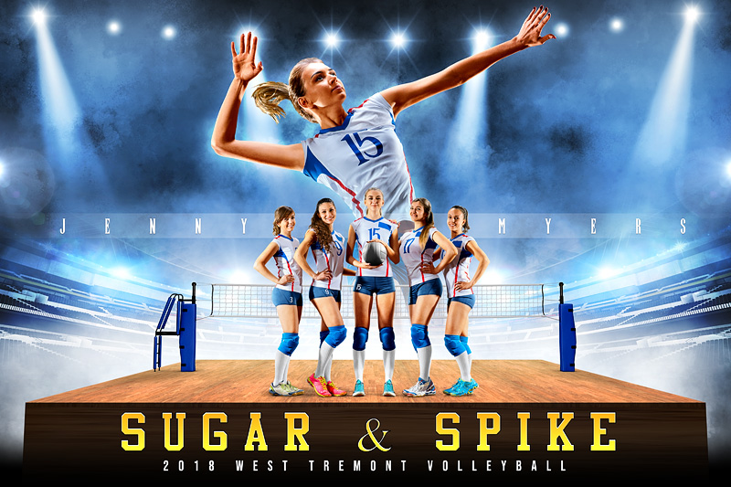 PLAYER & TEAM BANNER PHOTO TEMPLATE - VOLLEYBALL UPRISE - CUSTOM PHOTOSHOP LAYERED SPORTS TEMPLATE