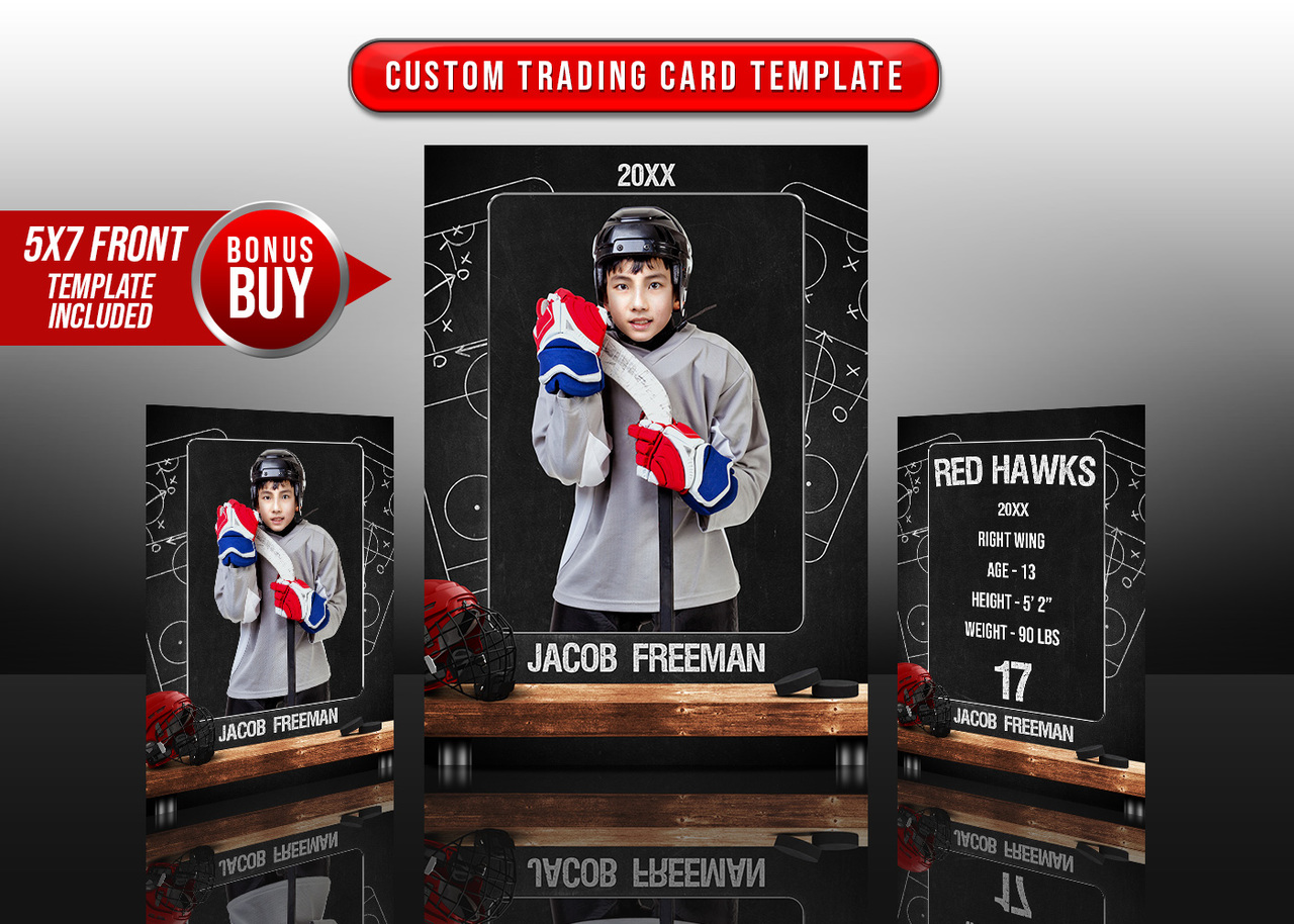 SPORTS TRADING CARDS AND 5X7 TEMPLATE - HOCKEY CHALK