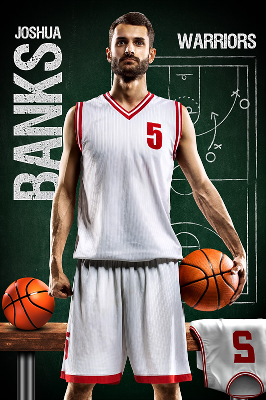 BASKETBALL BANNER PHOTO TEMPLATE - BASKETBALL CHALK - CUSTOM PHOTOSHOP LAYERED SPORTS TEMPLATE