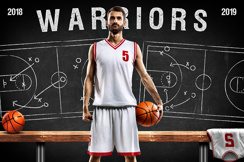 BASKETBALL PLAYER & TEAM BANNER PHOTO TEMPLATE - BASKETBALL CHALK - CUSTOM PHOTOSHOP LAYERED SPORTS TEMPLATE
