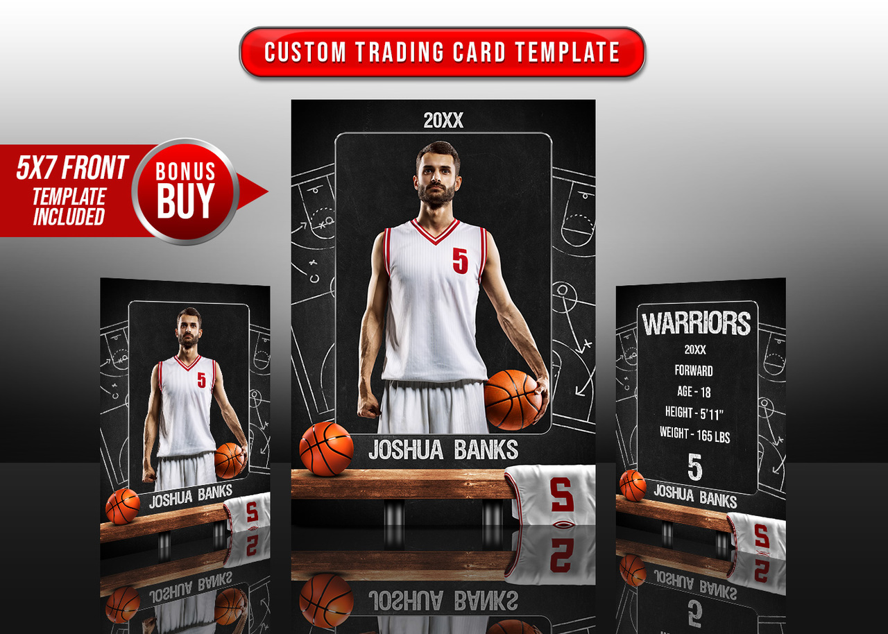 SPORTS TRADING CARDS AND 5X7 TEMPLATE - BASKETBALL CHALK