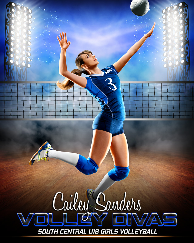16x20 SPORT POSTER PHOTO TEMPLATE - PRIME TIME VOLLEYBALL - CUSTOM PHOTOSHOP LAYERED SPORTS TEMPLATE