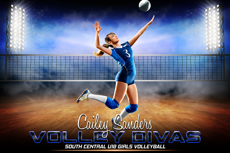 VOLLEYBALL BANNER PHOTO TEMPLATE - PRIME TIME VOLLEYBALL - CUSTOM PHOTOSHOP LAYERED SPORTS TEMPLATE