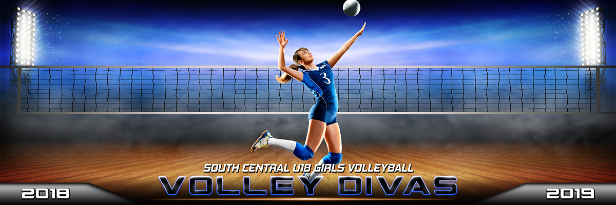 VOLLEYBALL PANORAMIC SPORTS BANNER TEMPLATE - PRIME TIME VOLLEYBALL - CUSTOM LAYERED PHOTOSHOP SPORTS TEMPLATE