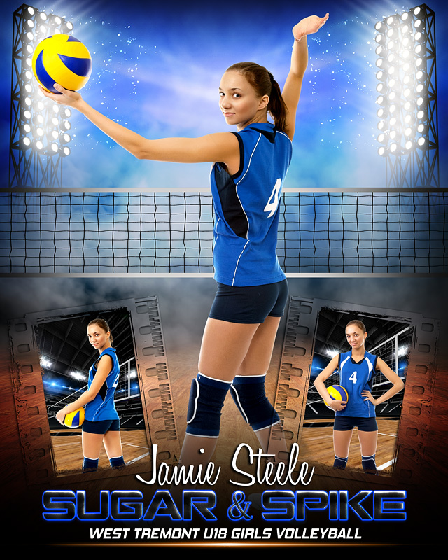 PRIME TIME VOLLEYBALL 16x20 PHOTO COLLAGE - CUSTOM LAYERED PHOTOSHOP SPORTS TEMPLATE