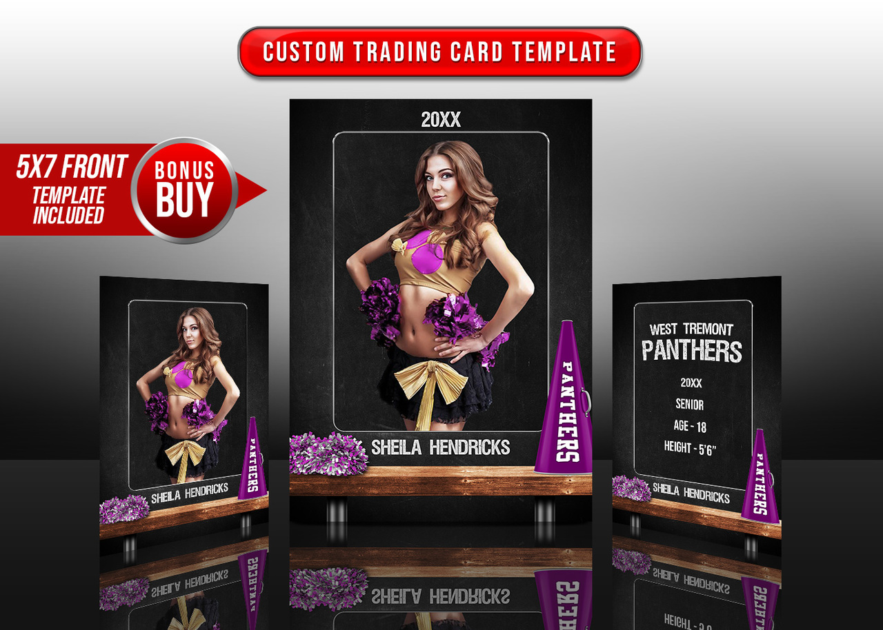 SPORTS TRADING CARDS AND 5X7 TEMPLATE - CHEER CHALK