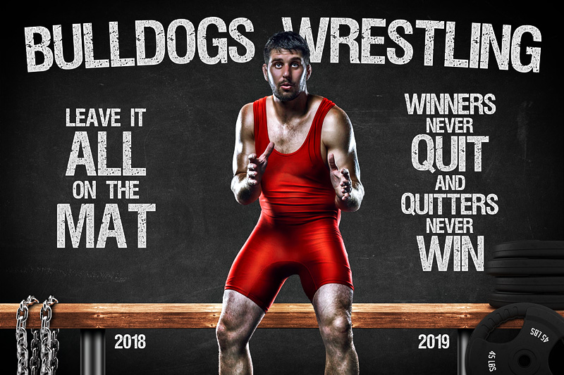 WRESTLING PLAYER & TEAM BANNER PHOTO TEMPLATE - WRESTLING CHALK - CUSTOM PHOTOSHOP LAYERED SPORTS TEMPLATE
