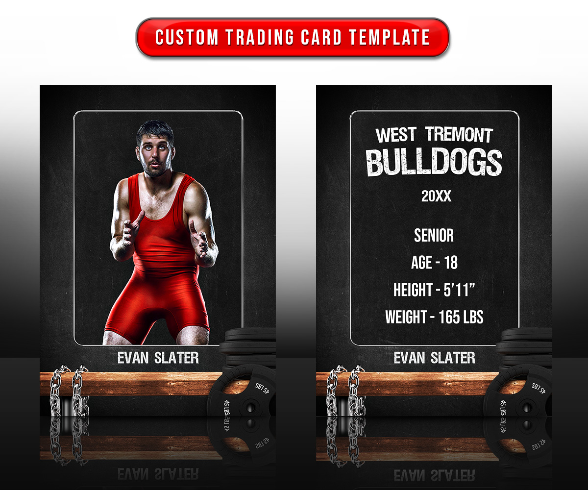 SPORTS TRADING CARDS AND 5X7 TEMPLATE - WRESTLING CHALK