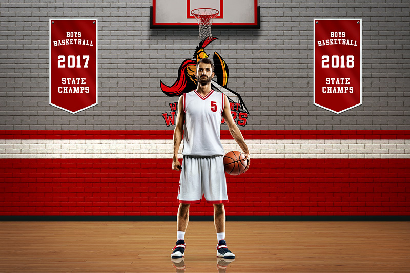 PLAYER & TEAM BANNER PHOTO TEMPLATE - BRICK WALL - CUSTOM PHOTOSHOP LAYERED SPORTS TEMPLATE