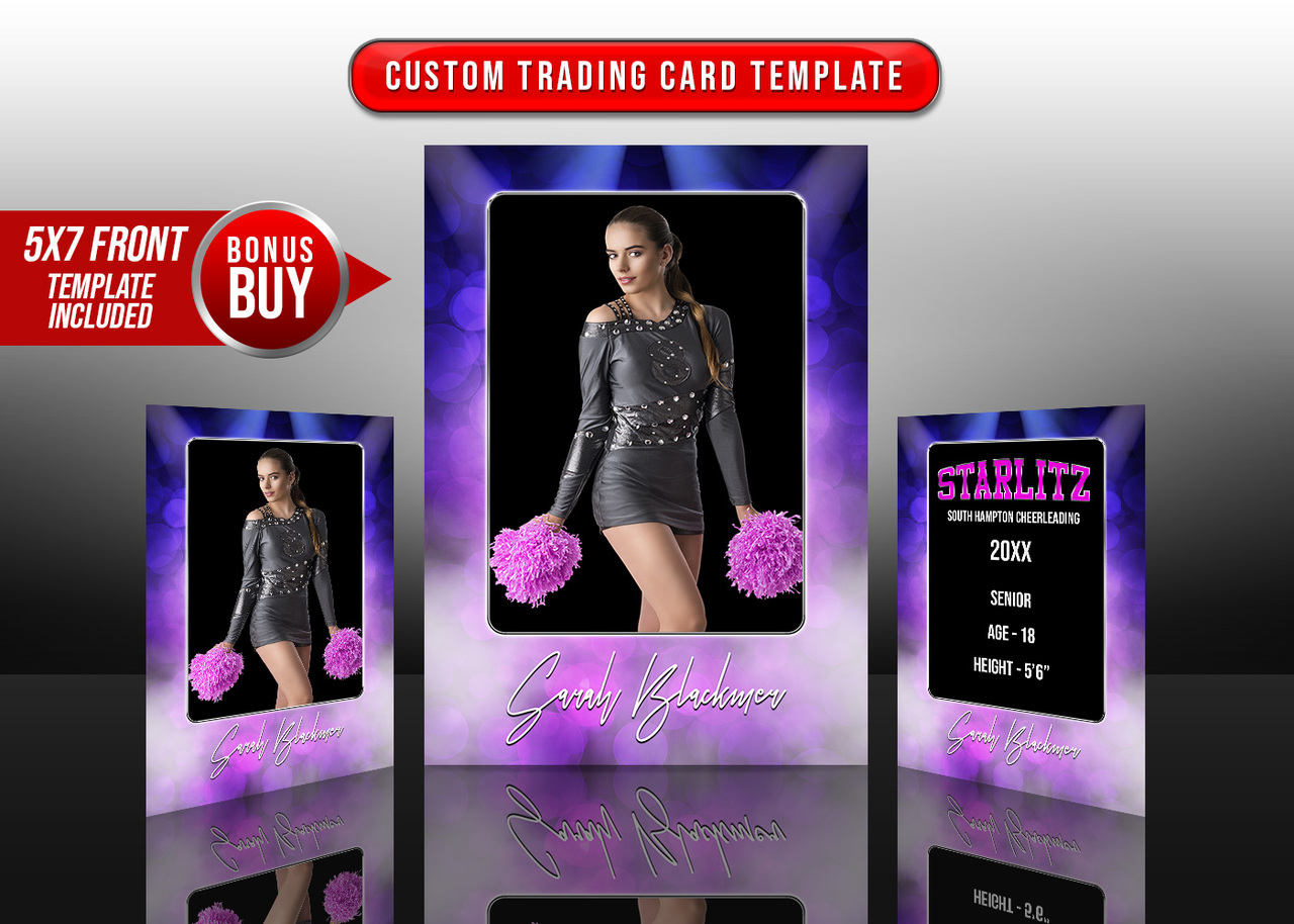 SPORTS TRADING CARDS AND 5X7 TEMPLATE - BOKEH LIGHTS