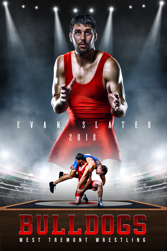 PLAYER BANNER PHOTO TEMPLATE - WRESTLING UPRISE - CUSTOM PHOTOSHOP LAYERED SPORTS TEMPLATE