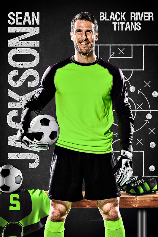 SOCCER BANNER PHOTO TEMPLATE - SOCCER CHALK - CUSTOM PHOTOSHOP LAYERED SPORTS TEMPLATE