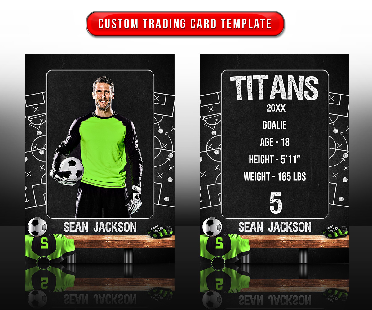 SPORTS TRADING CARDS AND 5X7 TEMPLATE - SOCCER CHALK