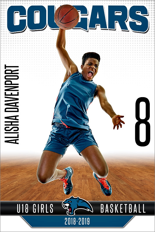 PLAYER BANNER PHOTO TEMPLATE - FADEAWAY - CUSTOM PHOTOSHOP LAYERED SPORTS TEMPLATE