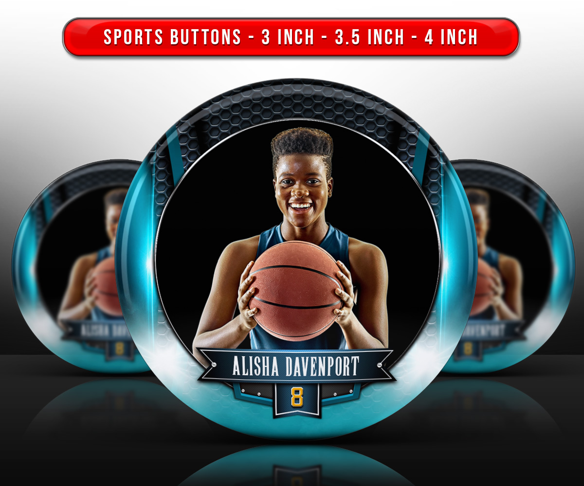 SPORTS PHOTO BUTTON TEMPLATES - ARCHED METAL