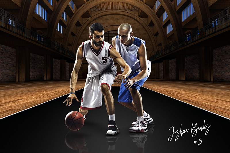 PLAYER & TEAM BANNER PHOTO TEMPLATE - VINTAGE BASKETBALL - CUSTOM PHOTOSHOP LAYERED SPORTS TEMPLATE
