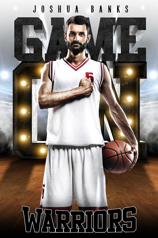 PLAYER BANNER PHOTO TEMPLATE - GAME ON LIGHTS - CUSTOM PHOTOSHOP LAYERED SPORTS TEMPLATE
