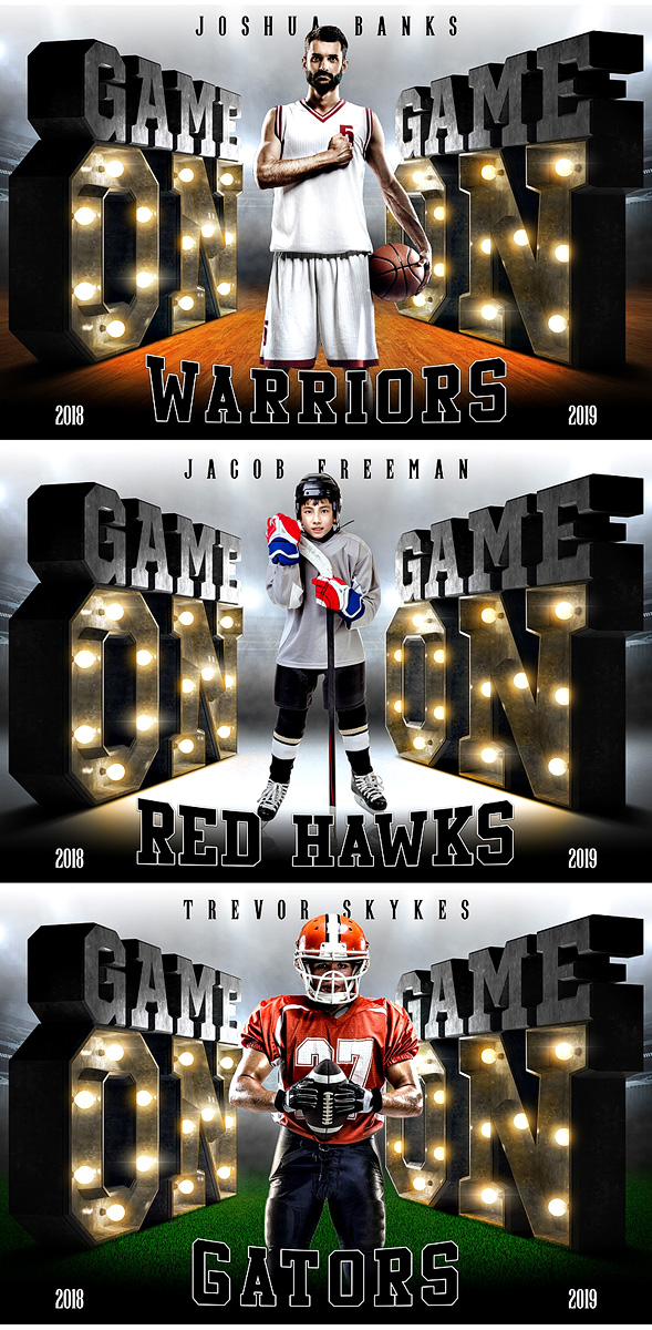 PLAYER  & TEAM BANNER PHOTO TEMPLATE - GAME ON LIGHTS - CUSTOM PHOTOSHOP LAYERED SPORTS TEMPLATE