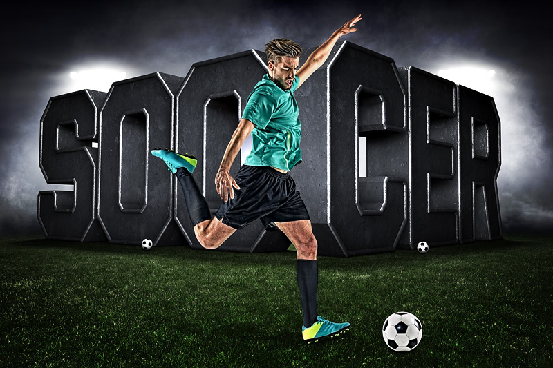 PLAYER & TEAM BANNER PHOTO TEMPLATE - SURREAL SOCCER - CUSTOM PHOTOSHOP LAYERED SPORTS TEMPLATE