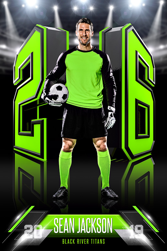 PLAYER BANNER PHOTO TEMPLATE - 3D NUMBERS - CUSTOM PHOTOSHOP LAYERED SPORTS TEMPLATE