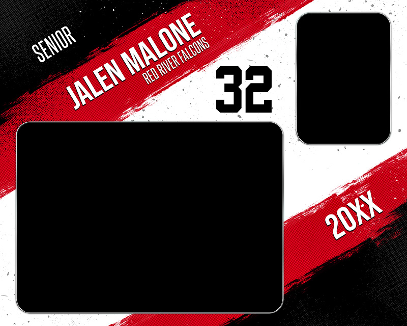 MEMORY MATE - HORIZONTAL - GRUNGE STROKES - CUSTOM PHOTOSHOP LAYERED MEMORY MATE TEMPLATE FOR ALL SPORTS